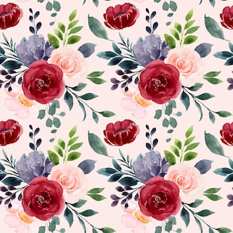 Naadloos patroon van rood roze bloemen aquarel