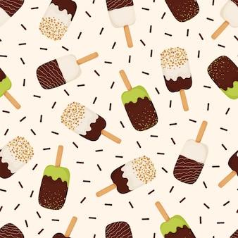 Naadloos patroon van roomijs met chocolade, noten, pistaches