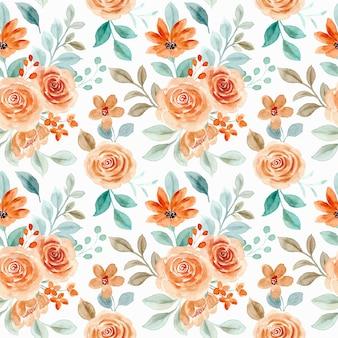 Naadloos patroon van roze bloem met waterverf