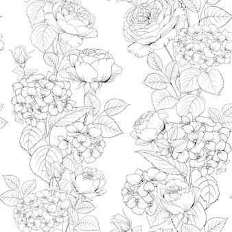 Naadloos patroon van roze bloem voor stof.
