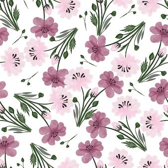 Naadloos patroon van roze en paarse bloemen