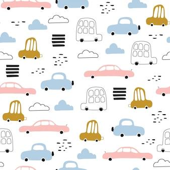Naadloos patroon van schattige auto's.