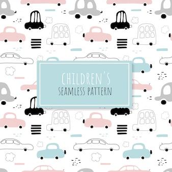Naadloos patroon van schattige auto's