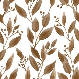 Naadloos patroon van schattige kleine bloem met bladeren in aquarel stijl.