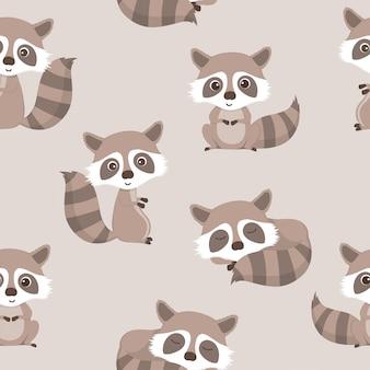 Naadloos patroon van schattige wasbeer.