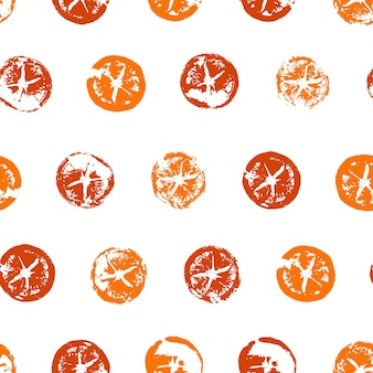Naadloos patroon van sinaasappelschijfjes afdrukken in moderne stijl hand getrokken vectorillustratie