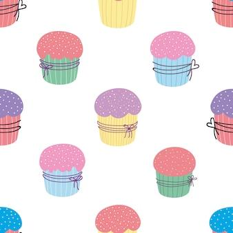 Naadloos patroon van snoep cupcakes