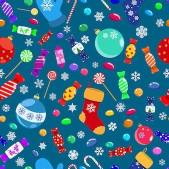 Naadloos patroon van snoepjes, lolly's, snoepjes, kerstballen en sokken