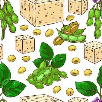 Naadloos patroon van sojabonen en tofu. hand getekend