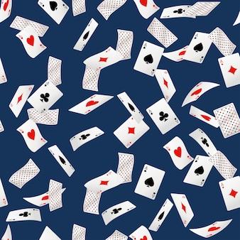 Naadloos patroon van speelkaarten die in verschillende posities vallen