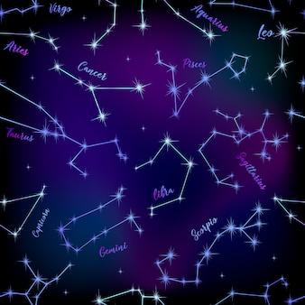 Naadloos patroon van sterrenbeelden