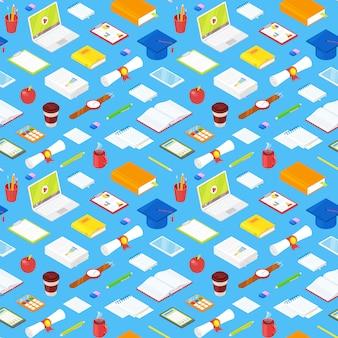 Naadloos patroon van studentenaccessoires op blauw. illustratie.