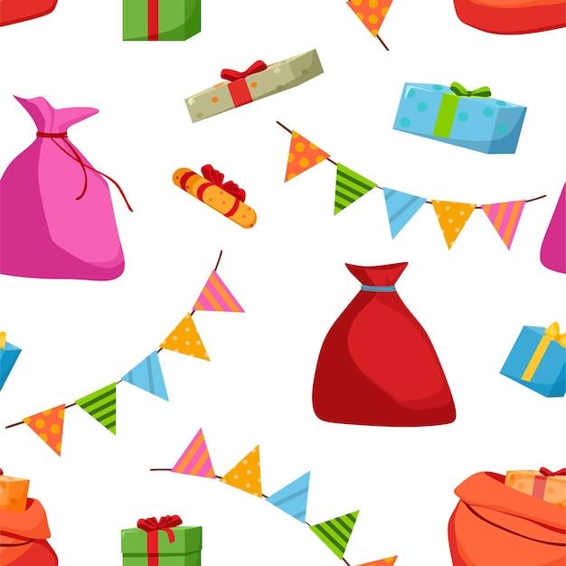 Naadloos patroon van tassen met geschenkenslingers kerstconcept vectorillustratie in cartoon