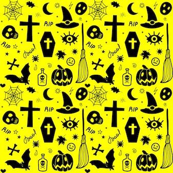 Naadloos patroon van traditionele spookachtige items van halloween