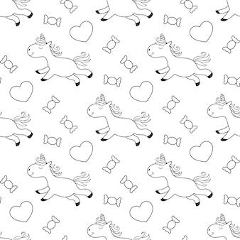 Naadloos patroon van unicorn met snoep voor kinderen