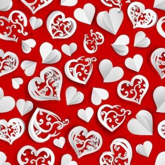 Naadloos patroon van veel papiervolumeharten met gaten en zonder, wit op rood