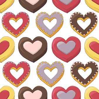 Naadloos patroon van verschillende desserts. romantische eindeloze textuur. hand getekend.