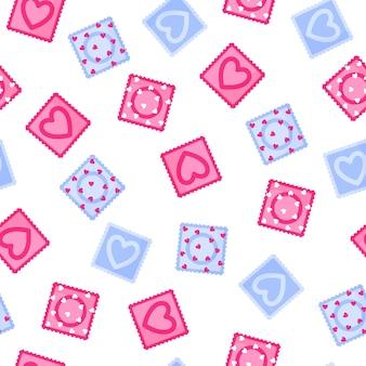 Naadloos patroon van verschillende kleuren condooms Premium Vector