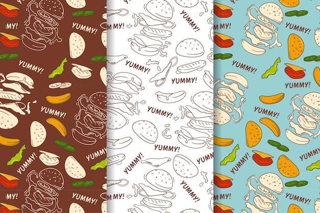 Naadloos patroon van vintage hamburger met de hand getekend