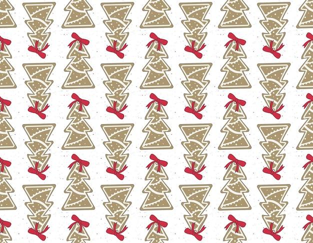 Naadloos patroon van vrolijke peperkoekkoekjes met wit glazuur in de vorm van een boom met een rode strik