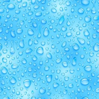 Naadloos patroon van waterdruppels van verschillende vormen met schaduwen in lichtblauwe kleuren