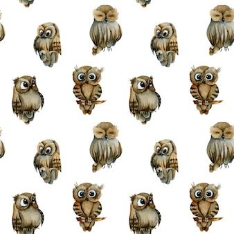 Naadloos patroon van waterverf leuke uilen