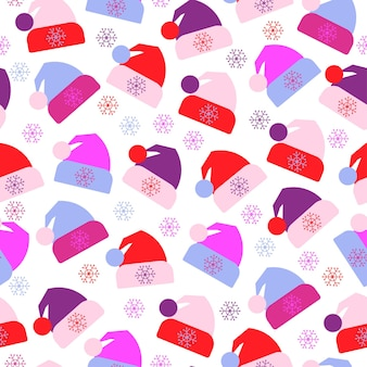Naadloos patroon van wintermutsen