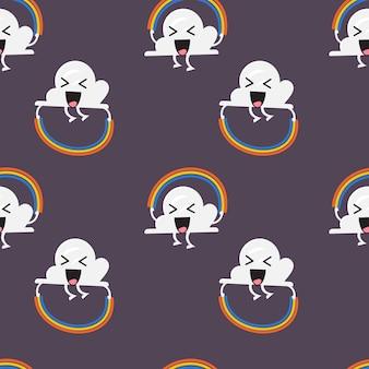 Naadloos patroon van wolkenkarakter springende regenboogkabel