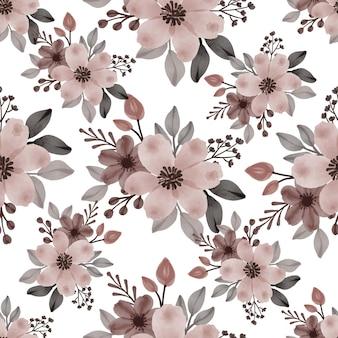 Naadloos patroon van zacht bruin bloemboeket