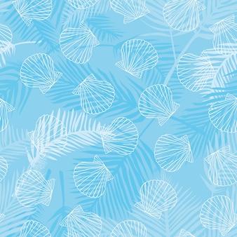 Naadloos patroon van zeeschelpen.