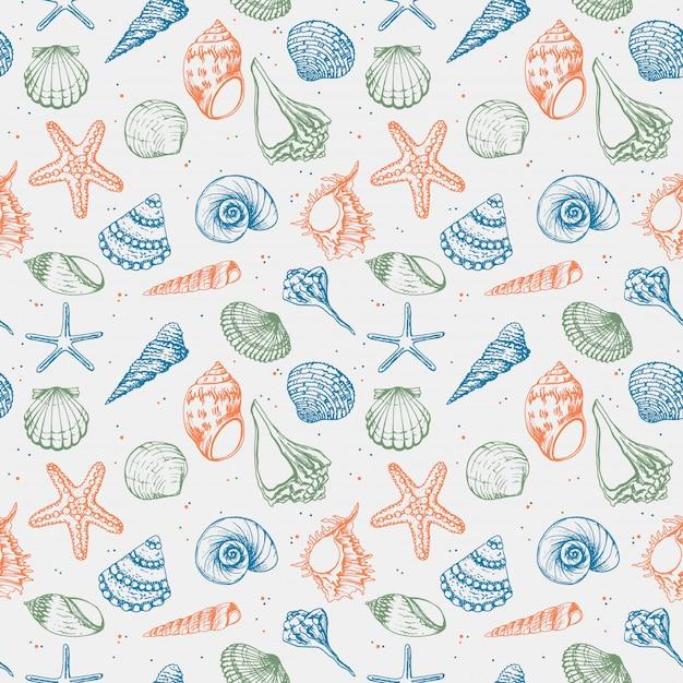 Naadloos patroon van zeeschelpen