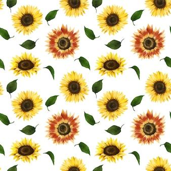 Naadloos patroon van zonnebloemen en groene bladerenillustratie
