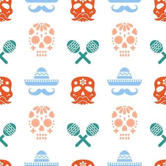 Naadloos patroon voor dia de los muertos