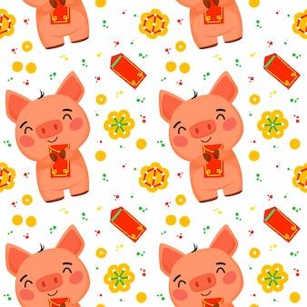 Naadloos patroon voor het chinese nieuwjaar van het varken