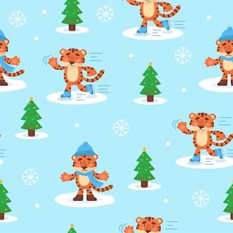 Naadloos patroon voor jaar van de tijger 2022. voor kerstkaarten, uitnodigingen, verpakkingspapier enz. vector platte cartoonillustratie.