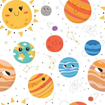 Naadloos patroon voor kinderen met planeten in het zonnestelsel