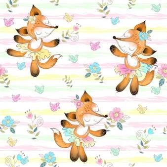 Naadloos patroon voor kinderen met schattige vossen ballerina's.