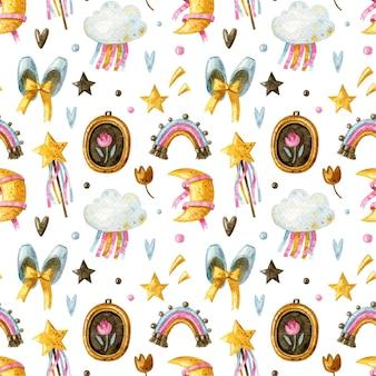 Naadloos patroon voor klein meisje met regenboog