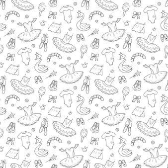 Naadloos patroon voor kleine ballerina met balletaccessoires. hand getrokken tutu, pointes, balletjurk, zwaan, kroon. illustratie op witte achtergrond