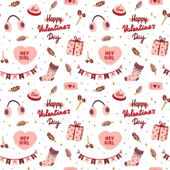 Naadloos patroon voor valentijnsdag met schattige elementen in romantische stijl.