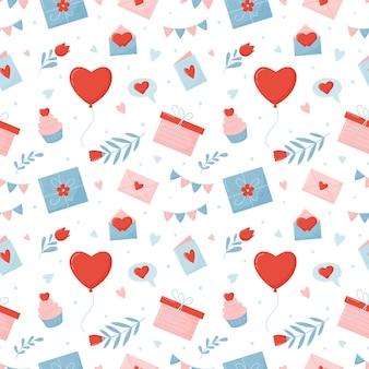 Naadloos patroon voor valentijnsdag.