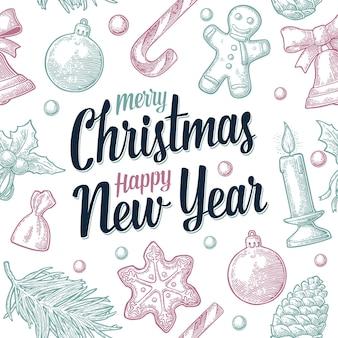 Naadloos patroon vrolijk kerstfeest gelukkig nieuwjaar gravure