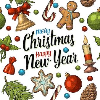 Naadloos patroon vrolijk kerstfeest gelukkig nieuwjaar pine candy maretak candle cone toy gravure