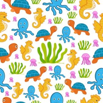 Naadloos patroon zeedieren behang