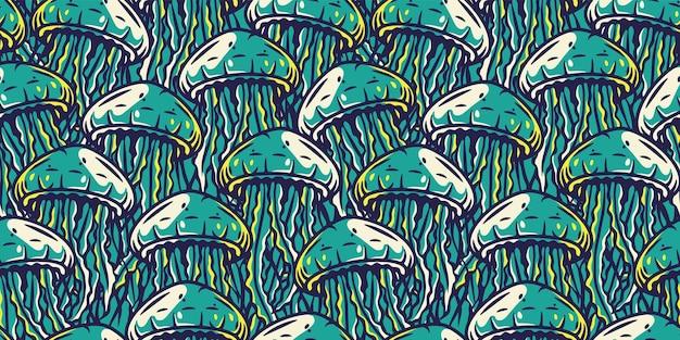 Naadloos patroonbehang met kwallen onderwaterdieren, wild oceaanleven voor marien ontwerp