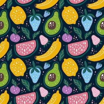 Naadloos patroonfruit in skandinavische ontwerpstijl. kan worden gebruikt voor stof enz