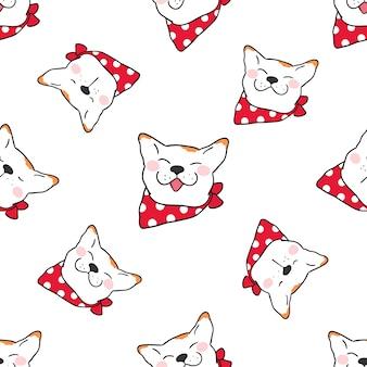 Naadloos patroonhoofd als achtergrond van hond op wit