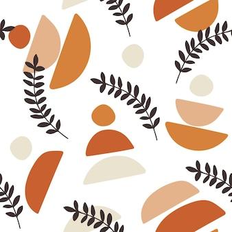 Naadloos patroonontwerp met bloemenelementen en abstracte vormen