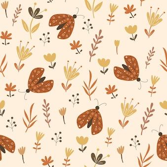 Naadloos patroonontwerp met bloemenelementen en vlinders. vector illustratie.