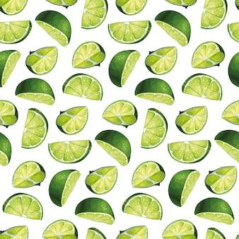 Naadloos patroonontwerp met hand getrokken limoenillustraties van hoge kwaliteit. hele limoenen met plakjes.